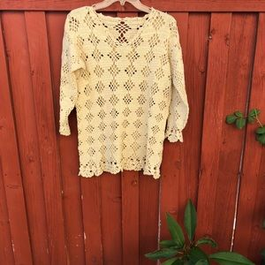 Cream colored tone crochet coverup sweater